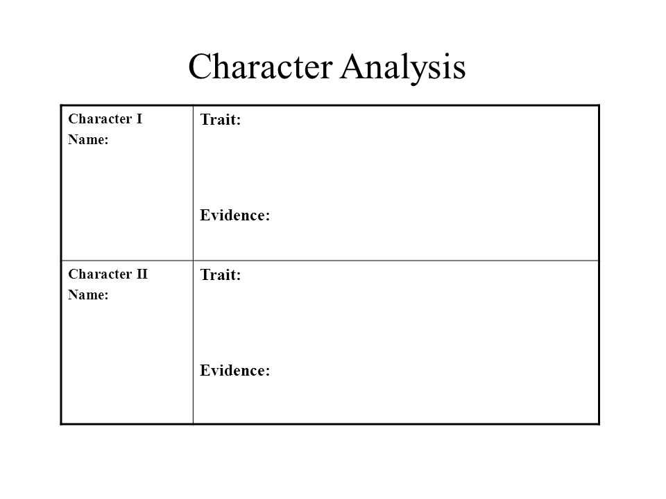 Character Analysis Character I Name: Trait: Evidence: Character II