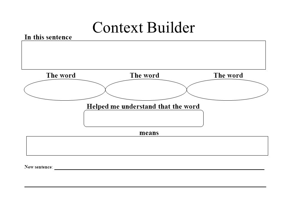Context Builder In this sentence The word The word The word