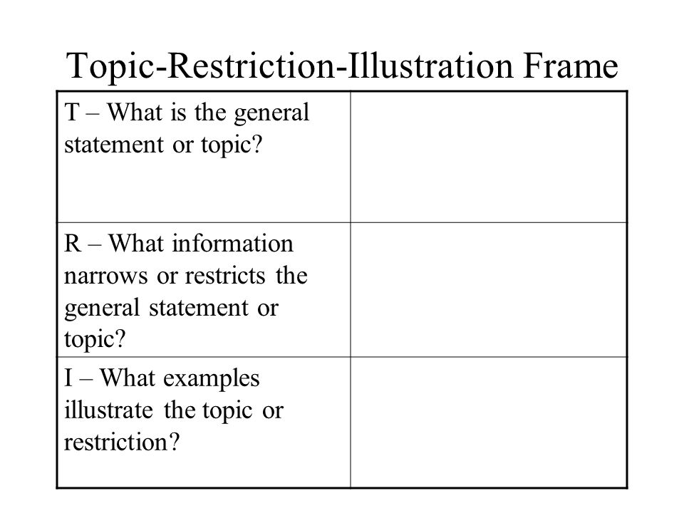 Topic-Restriction-Illustration Frame