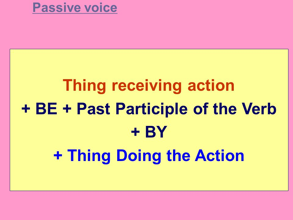Thing receiving action + BE + Past Participle of the Verb + BY