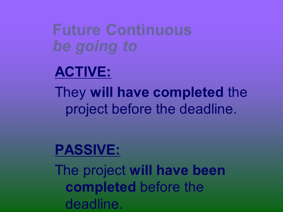 Future Continuous be going to