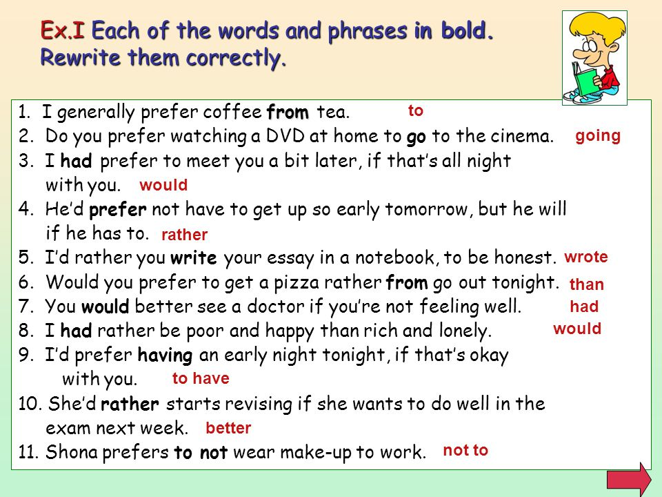 Ex.I Each of the words and phrases in bold. Rewrite them correctly.