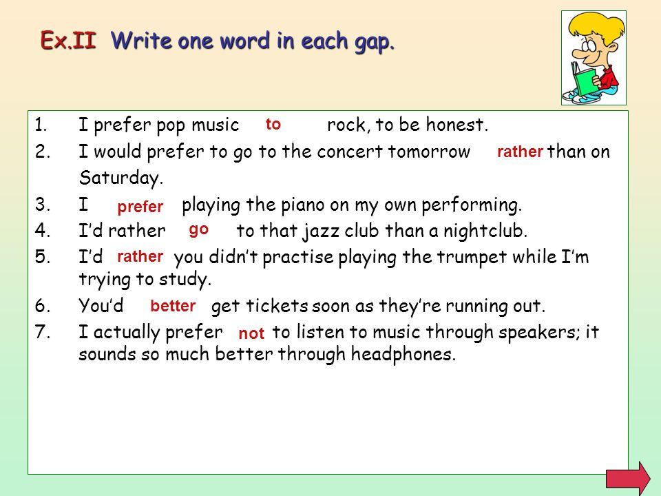 Ex.II Write one word in each gap.