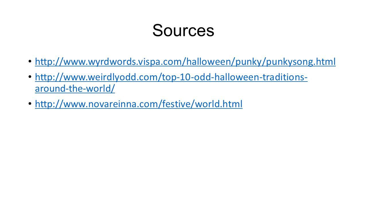 Sources http://www.wyrdwords.vispa.com/halloween/punky/punkysong.html