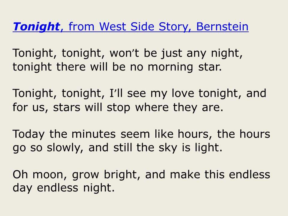 Tonight, from West Side Story, Bernstein