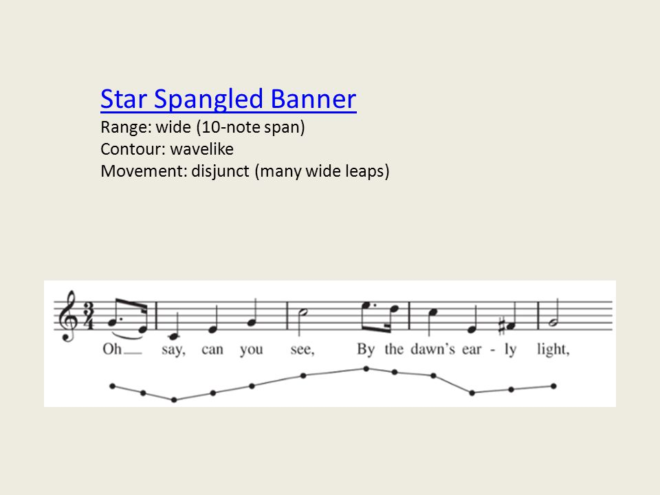 Star Spangled Banner Range: wide (10-note span) Contour: wavelike Movement: disjunct (many wide leaps)