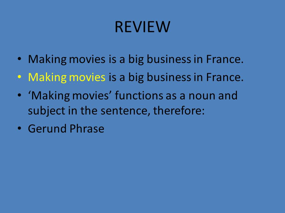REVIEW Making movies is a big business in France.
