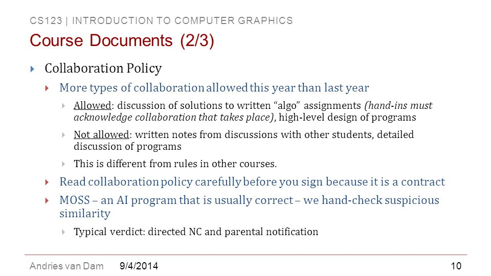 Course Documents (2/3) Collaboration Policy