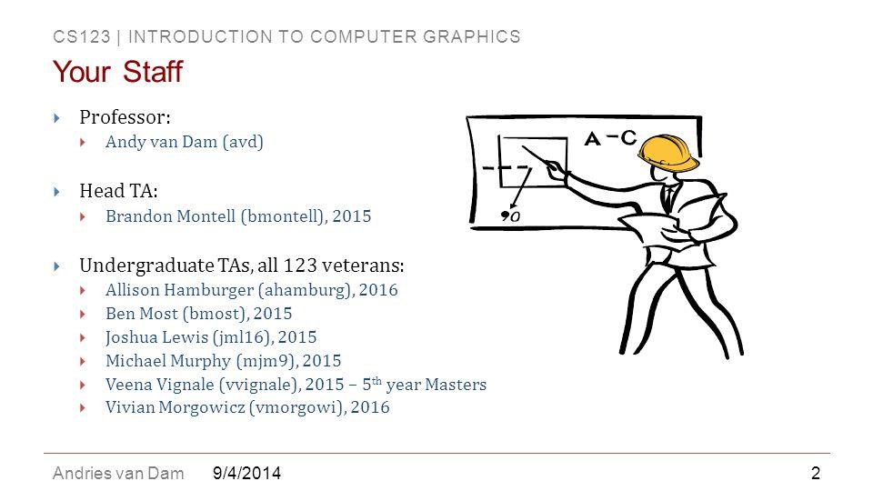 Your Staff Professor: Head TA: Undergraduate TAs, all 123 veterans: