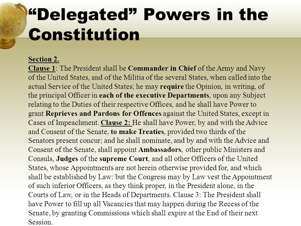 Delegated Powers in the Constitution