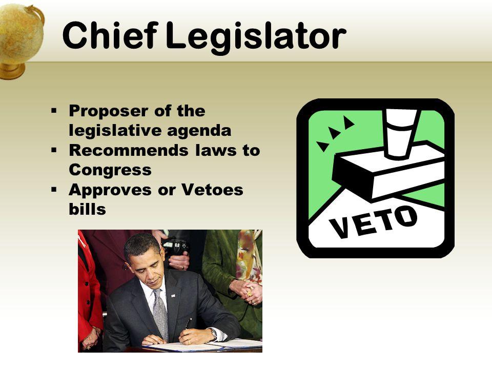 Chief Legislator Proposer of the legislative agenda