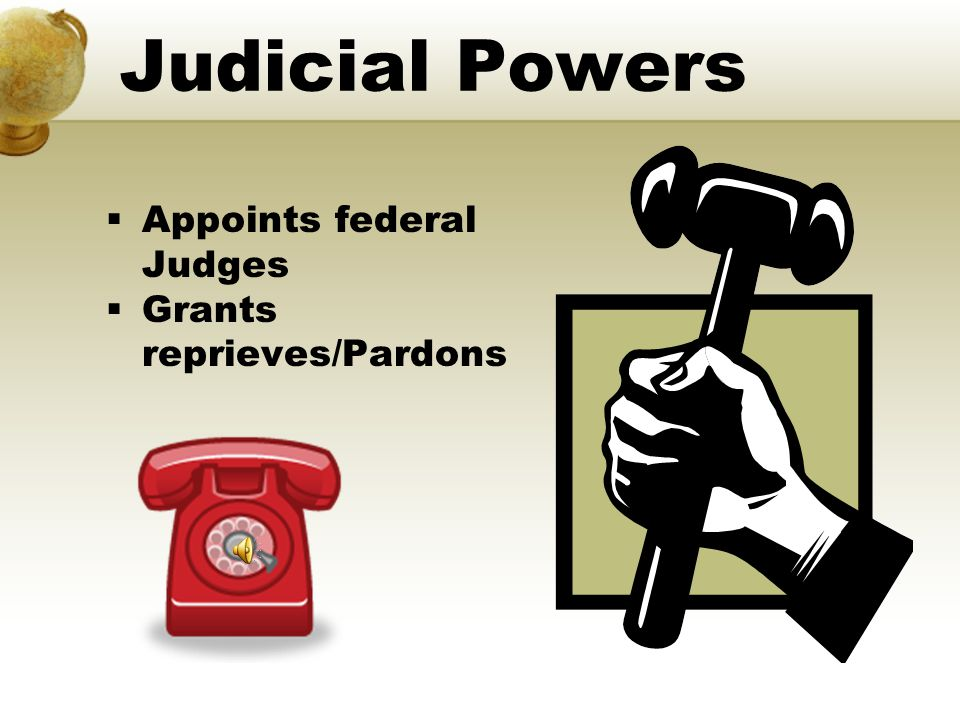 Judicial Powers Appoints federal Judges Grants reprieves/Pardons
