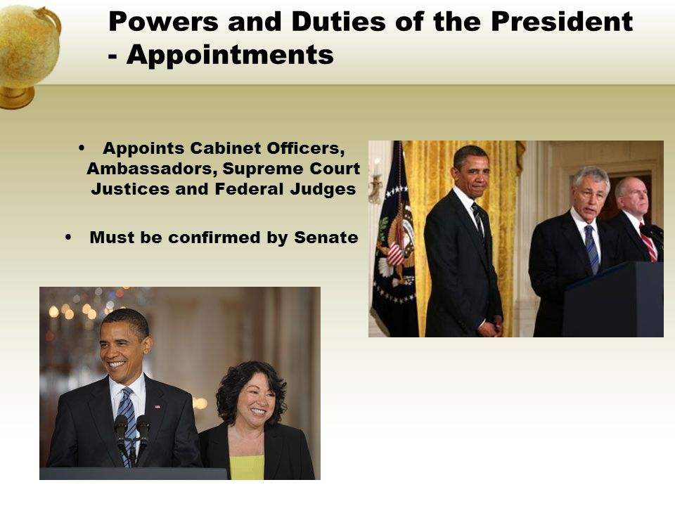 Powers and Duties of the President - Appointments