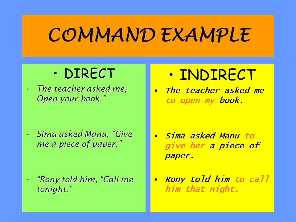 COMMAND EXAMPLE INDIRECT DIRECT The teacher asked me, Open your book.