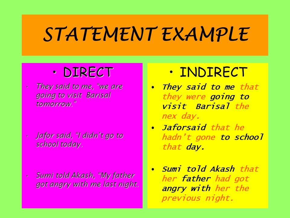 STATEMENT EXAMPLE DIRECT INDIRECT