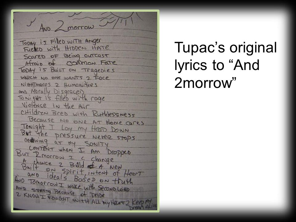 Tupac's original lyrics to And 2morrow