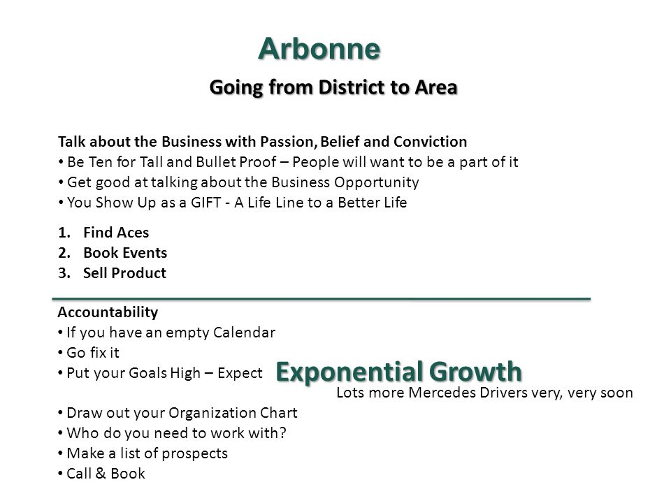 Arbonne Exponential Growth Going from District to Area