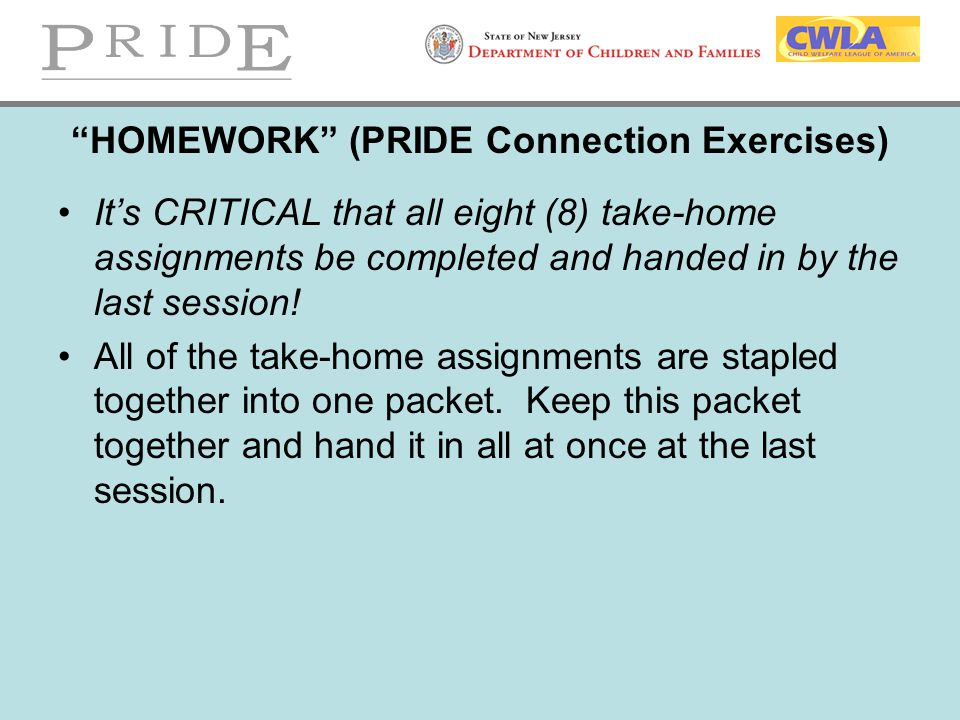 HOMEWORK (PRIDE Connection Exercises)