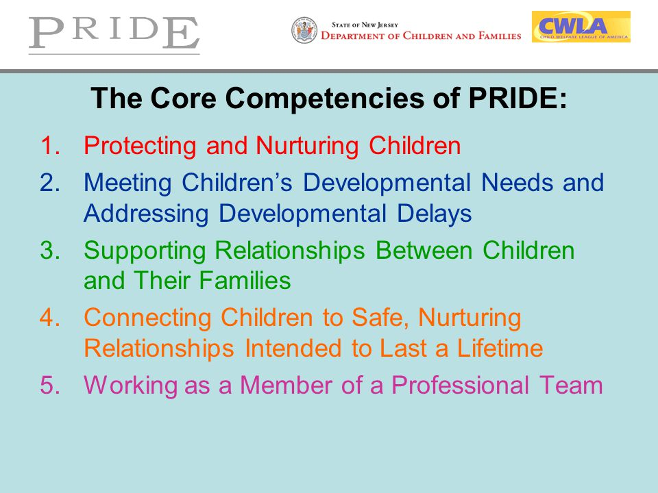 The Core Competencies of PRIDE: