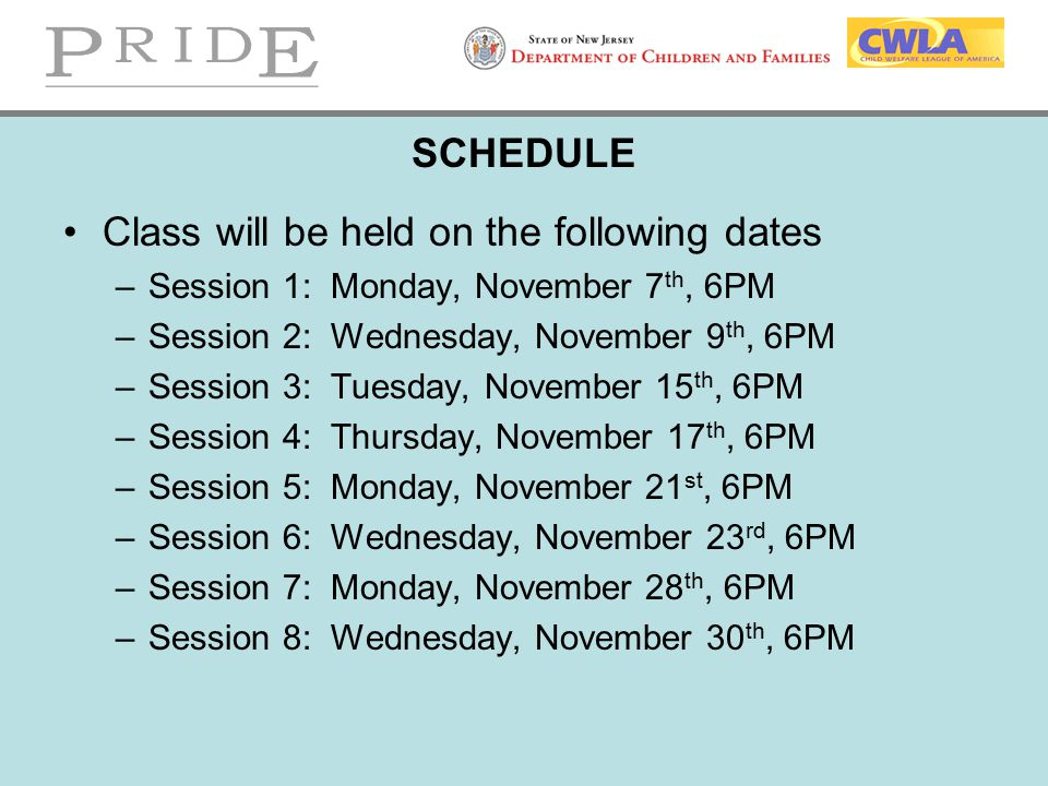Class will be held on the following dates
