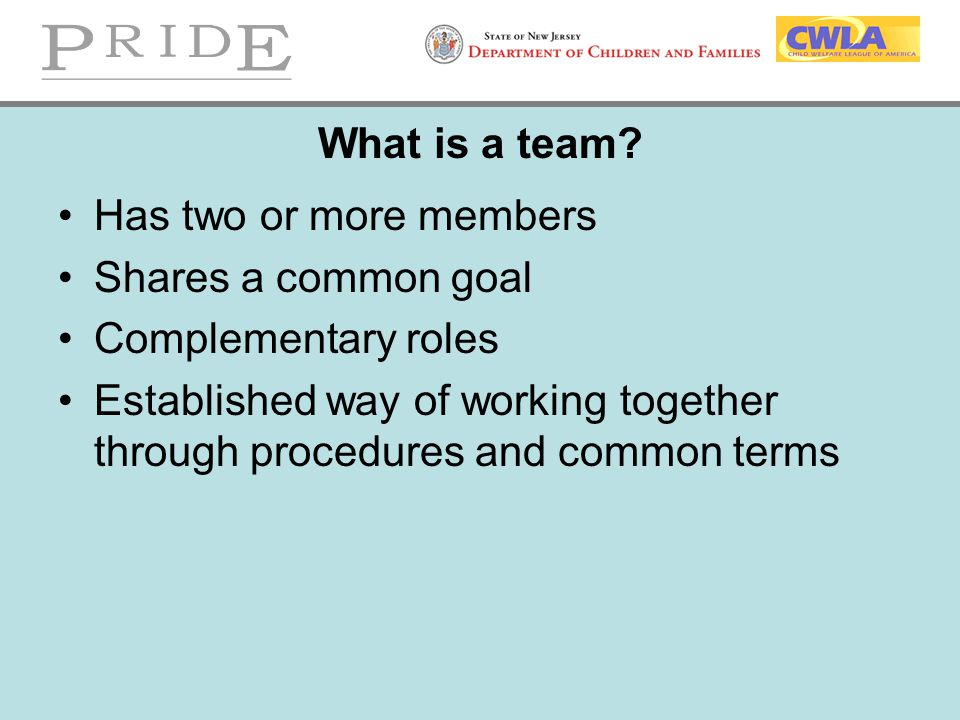 What is a team Has two or more members. Shares a common goal. Complementary roles.