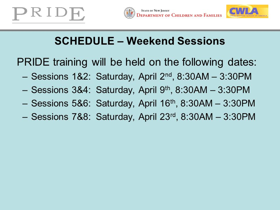 SCHEDULE – Weekend Sessions