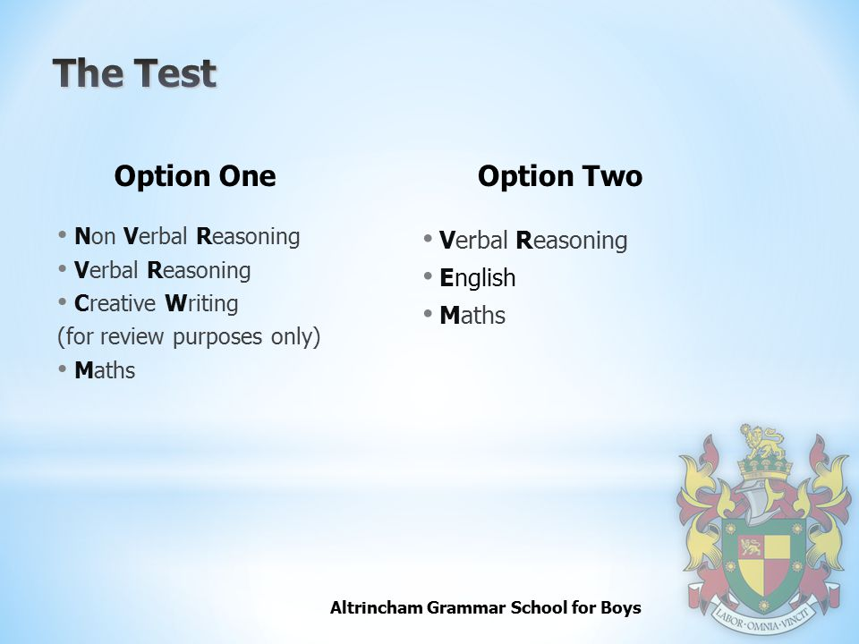 The Test Option One Option Two Verbal Reasoning English Maths