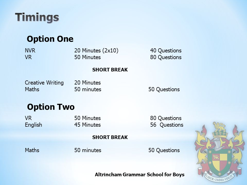 Timings Option One Option Two NVR 20 Minutes (2x10) 40 Questions