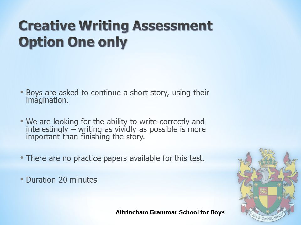 Creative Writing Assessment Option One only