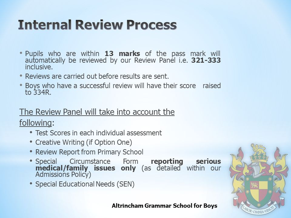 Internal Review Process