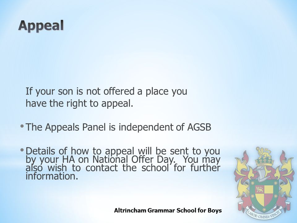 Appeal If your son is not offered a place you