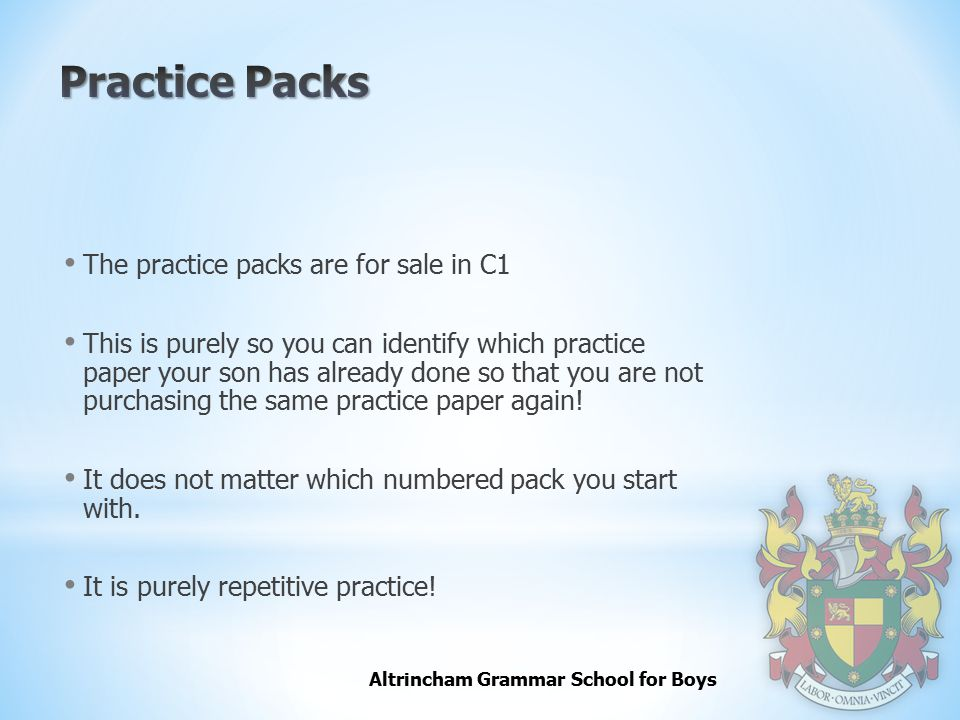 Practice Packs The practice packs are for sale in C1