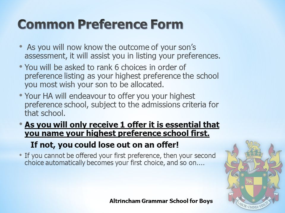 Common Preference Form