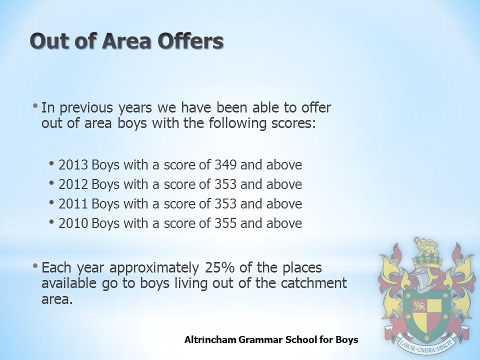 Out of Area Offers In previous years we have been able to offer out of area boys with the following scores: