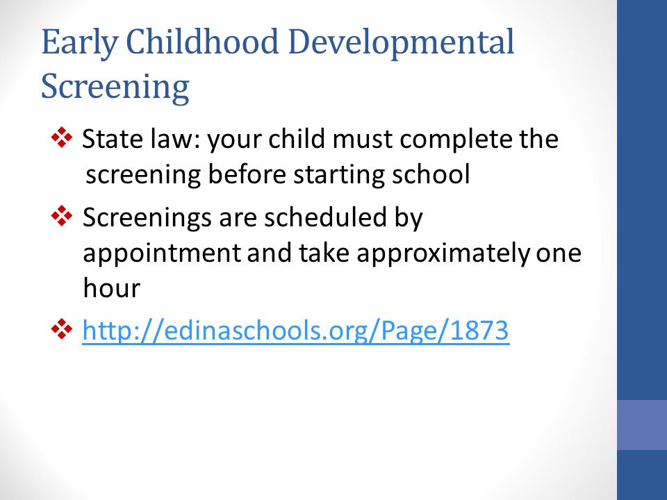 Early Childhood Developmental Screening
