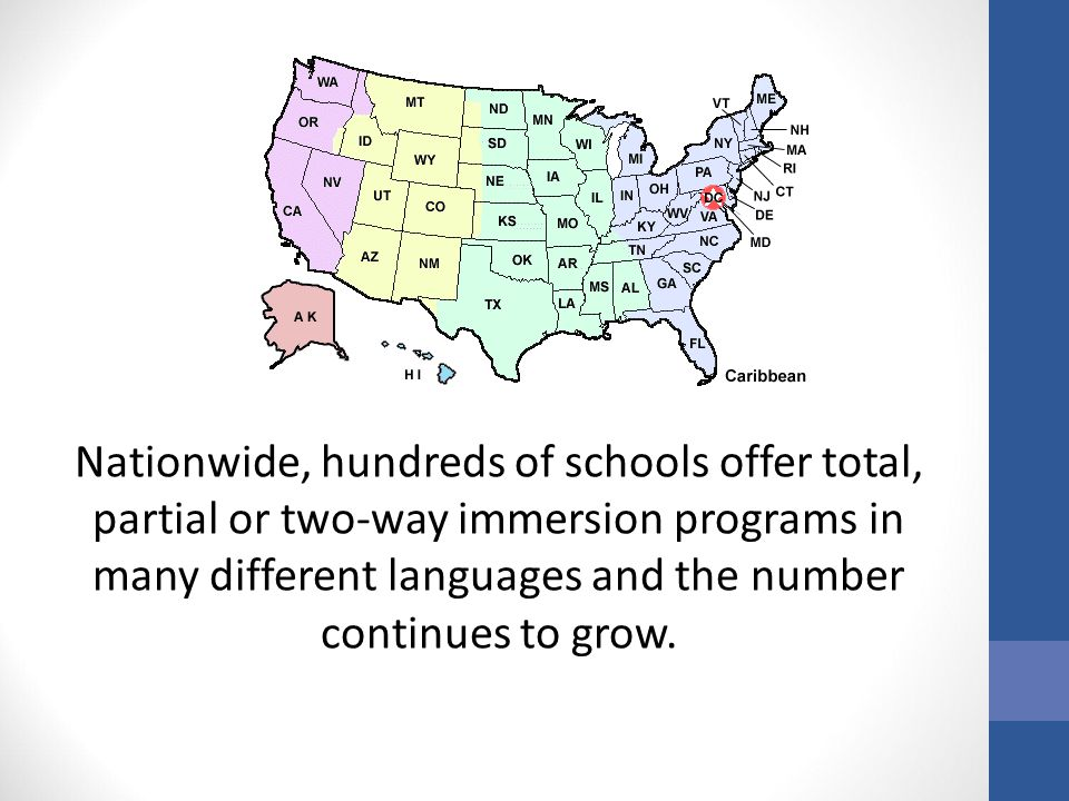 Nationwide, hundreds of schools offer total, partial or two-way immersion programs in many different languages and the number continues to grow.