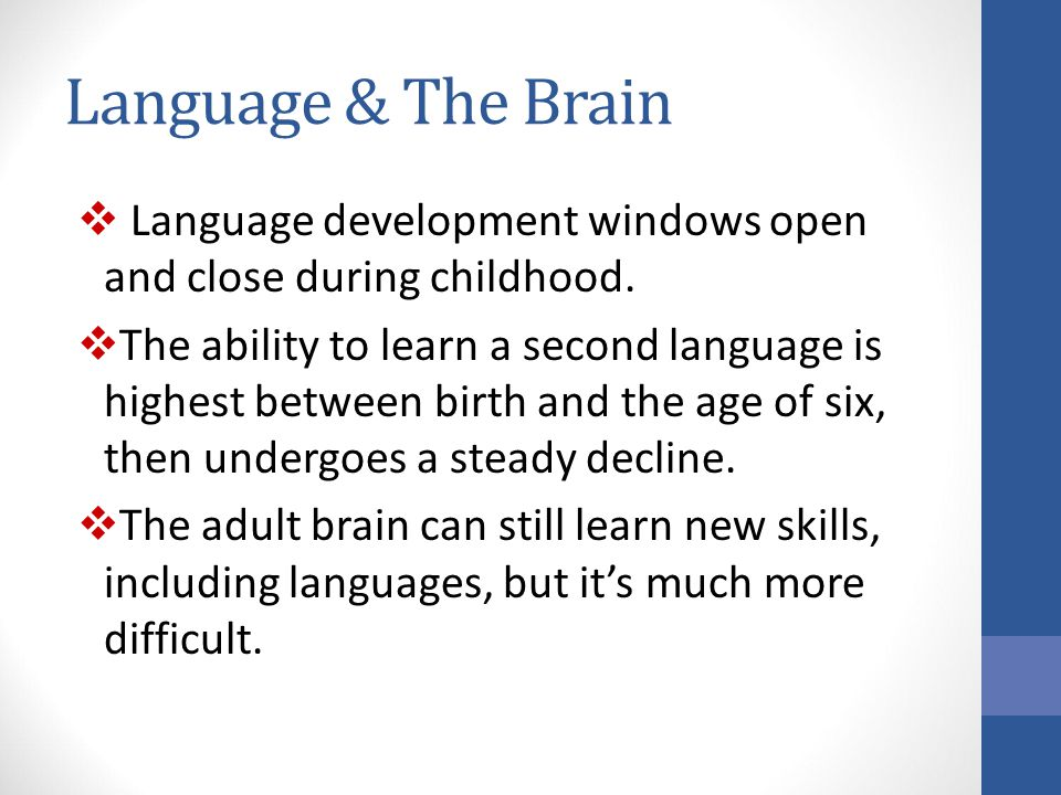 Language & The Brain Language development windows open and close during childhood.