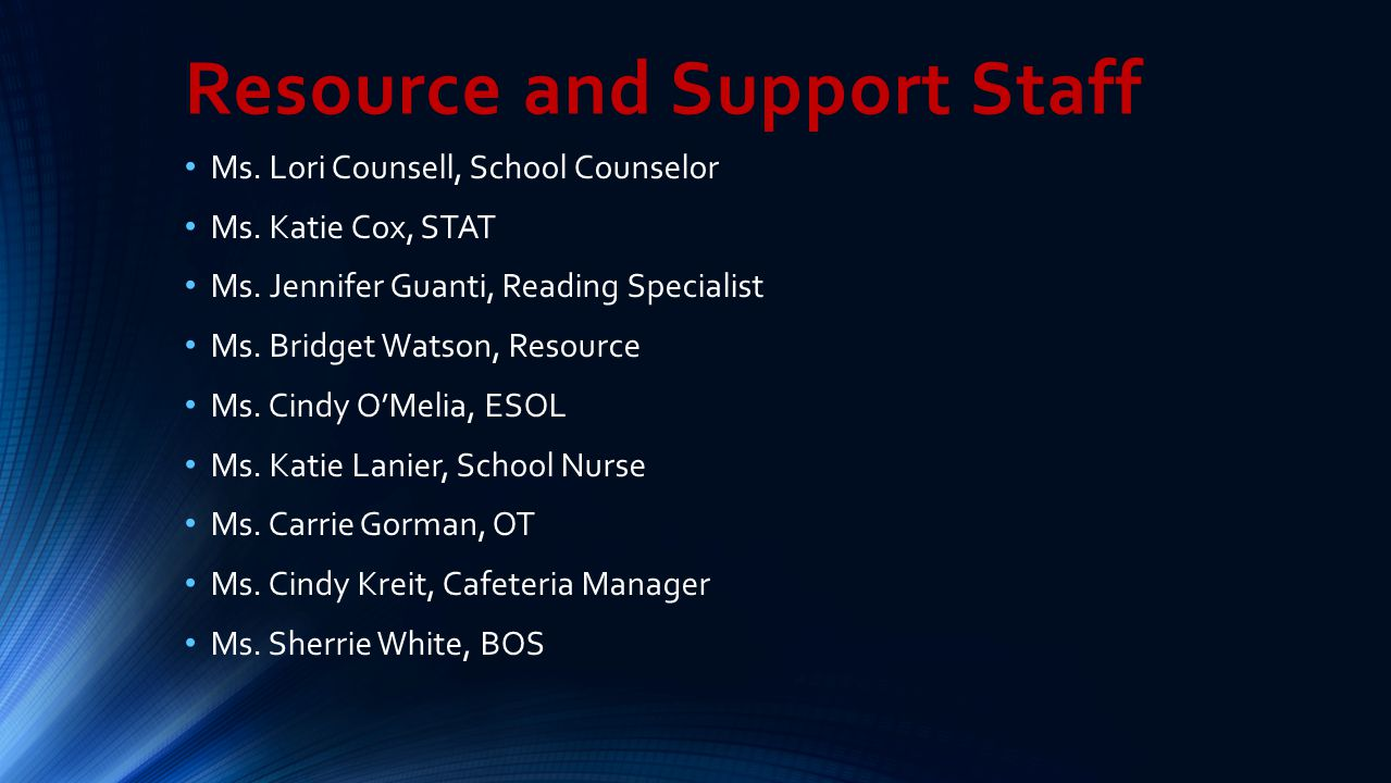 Resource and Support Staff