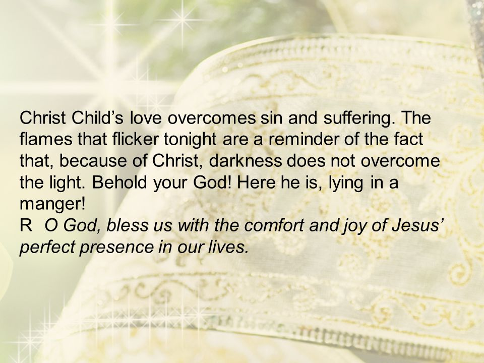 Christ Child's love overcomes sin and suffering