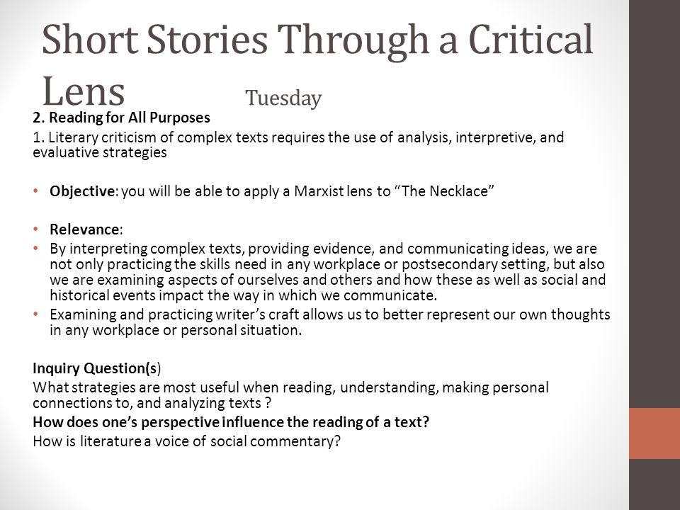 Short Stories Through a Critical Lens Tuesday