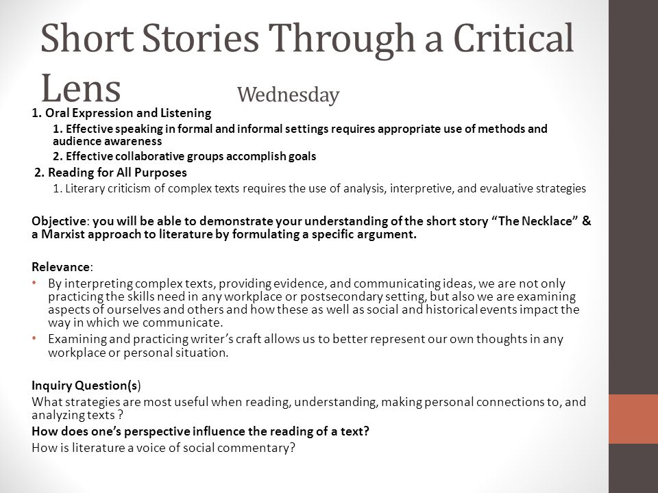 Short Stories Through a Critical Lens Wednesday