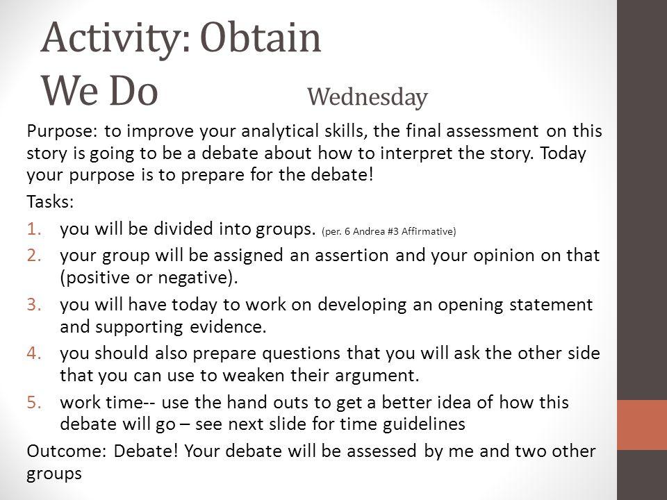 Activity: Obtain We Do Wednesday