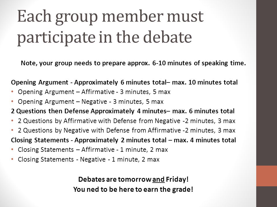 Each group member must participate in the debate