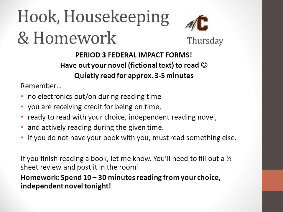 Hook, Housekeeping & Homework Thursday