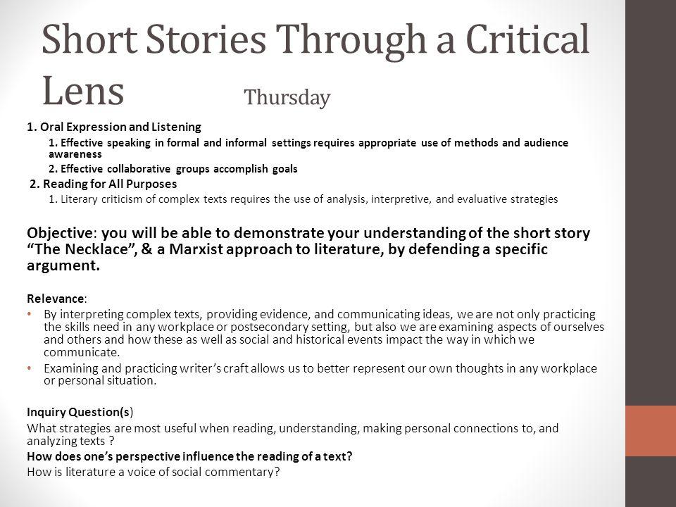 Short Stories Through a Critical Lens Thursday