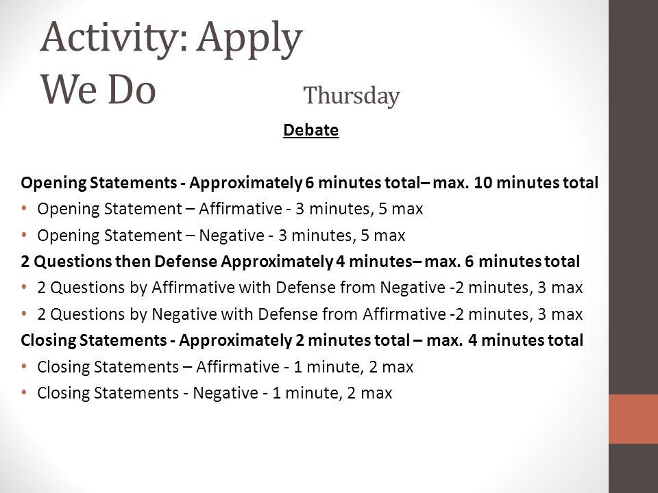 Activity: Apply We Do Thursday