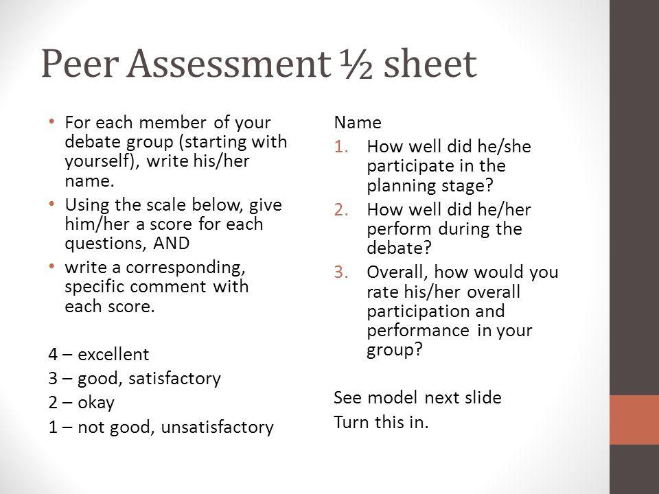 Peer Assessment ½ sheet