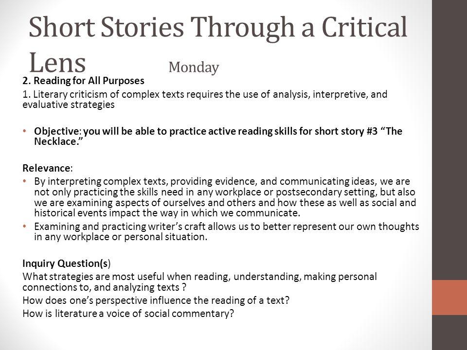 Short Stories Through a Critical Lens Monday
