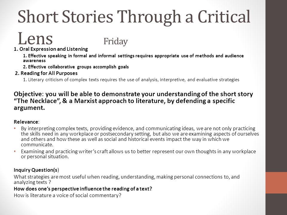 Short Stories Through a Critical Lens Friday