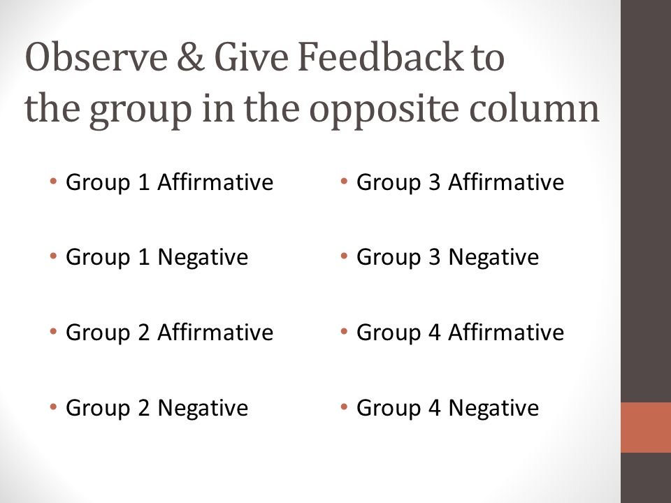 Observe & Give Feedback to the group in the opposite column